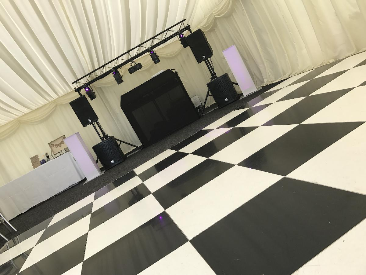 Wedding DJ setup in marquee in Kent