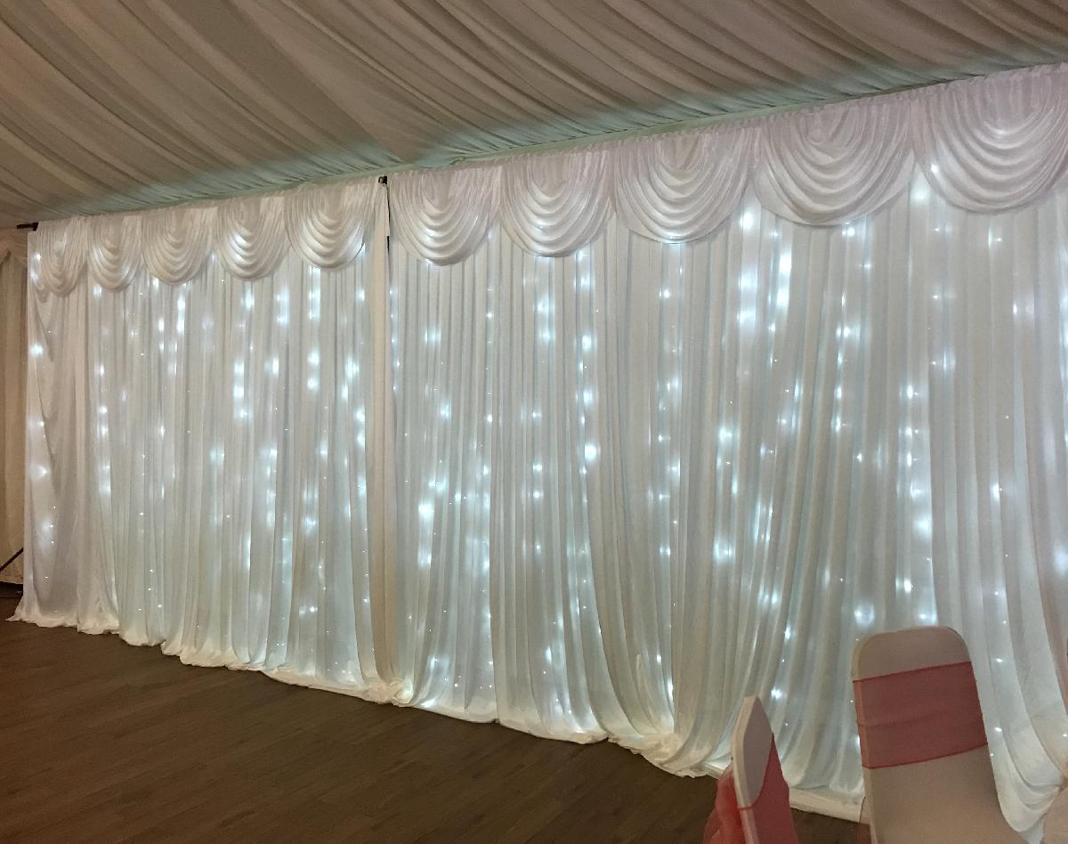 Ice White Starlit Wedding Backdrop Curtain
