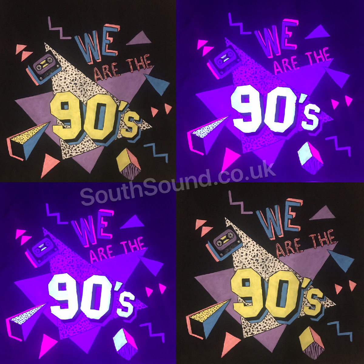 90s DJ Booth front cover glows under ultra violet