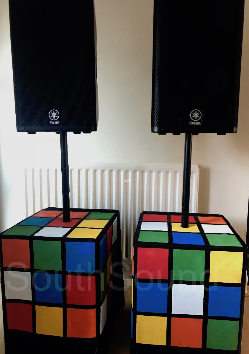 Rubiks Cube speaker covers for our 80s themed events