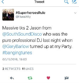 Feedback received on Twitter for a 40th Party on 04/11/2016 performed by Jason